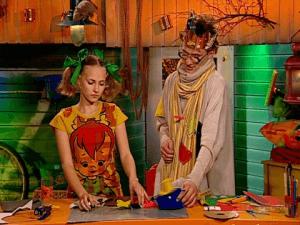 """Актриса Анна Бегунова и актер Ричард Бондарев (Юла и Бериляка, передача """"Волшебный чуланчик"""")"""