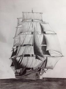 Работа Елены Уитман. Sailboat. Рисунки, графит, карандаш