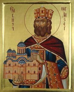 Святой великомученик царь Сербский Лазарь. Современная икона. Сербия. фото: иером.Игнатий (Шестаков).