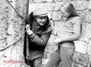 Ролан Быков и Кристина Орбакайте на съемках фильма «Чучело»