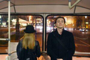 Сергей Безруков в автобусе