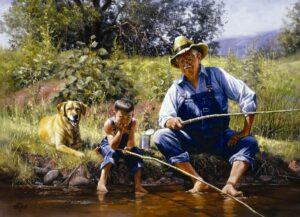 Дед и внук на рыбалке
