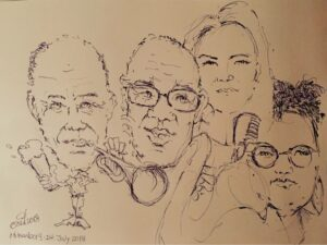 Яна Тюлькова с музыкантами, портрет художника Оскара Ульбига