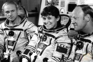 Космонавты: Джанибеков, Савицкая, Волк
