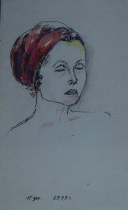Графика с акварелью. Любовь Николаевна Фатьянова (Бакланова). По образованию она актриса, режиссёр. Но пожертвовала своей карьерой ради семейного уюта, мужа и детей. Светлана её рисовала, когда она цитировала стихи Омара Хайяма.