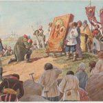 Открытка. Кутузов молится перед Казанской иконой Богородицы накануне Бородинской битвы. Зворыкин