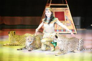 Дрессировщица Дарья Костюк с гепардами