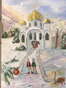 Рисунок храма. Самсонова София, 13 лет Кисловодск ДХШ им. Ярошенко, преподаватель Жанна Михайловна Шпагина.