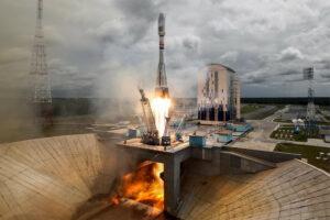 Ракета-носитель Союз-2.1А с космическими аппаратами Ломоносов, Аист-2Д и SamSat-218 на стартовой площадке космодрома Восточный.