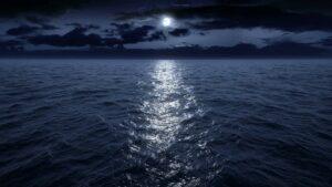 Океан, ночь, луна, лунная дорожка