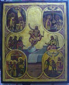 Переработка западной живописи эпохи Возрождения. Икона 20-го в. Христос - воскресший революционер.